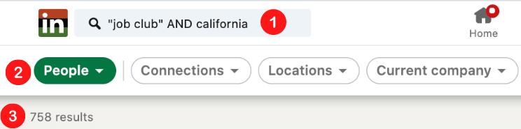 How to find job clubs via LinkedIn
