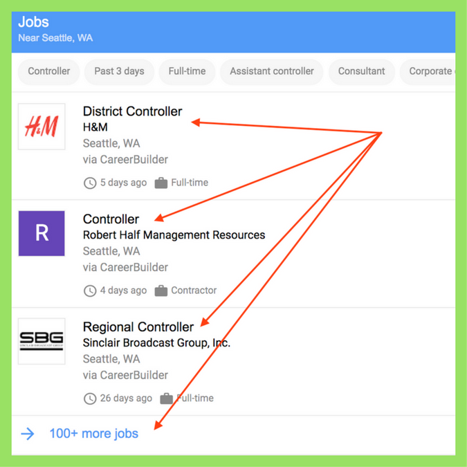 Google for Jobs, Example of Job Listings
