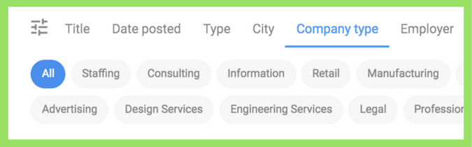 Search Google for Jobs by Company Type Industry Sector