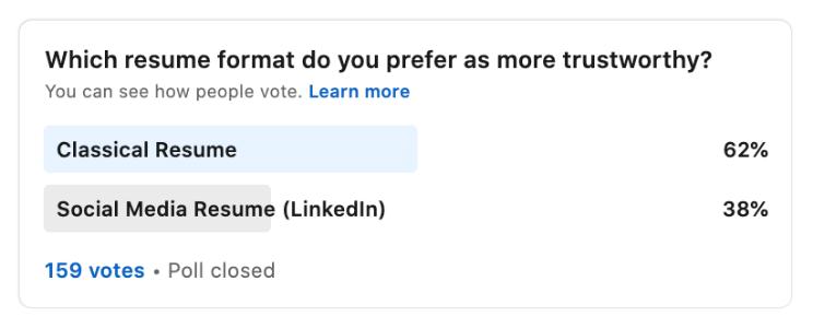 trust, linkedin vs. resume
